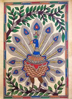 The General Characteristics of Madhubani Paintings: An Indian Folk Art! Madhubani Paintings Peacock, Kalamkari Painting, Madhubani Art, Indian Art Paintings, Peacock Wall Art, Peacock Painting, Art Beat, Worli Painting, Painting Styles