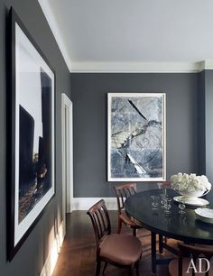 American fashion designer Kasper has long been an avid collector of contemporary art. The steel-gray walls of his Manhattan apartment's dining room beautifully offset works by Edward Burtynsky and Anselm Kiefer.
