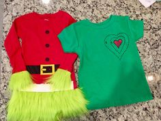 """Are you a fan of The Grinch? Check out our HOW-TO blog post on making Grinch inspired costumes for your children. Two options with """"lots of heart"""". Grinch Party Costume, Grinch Halloween, Whoville Costumes, Grinch Christmas Party, Family Halloween Costumes, Boy Costumes, Christmas Costumes, Christmas Carol, Ugly Sweater Party"""