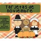 Here is a FREEBIE that includes some common November words in Spanish  Corn, pie, Thanksgiving, Cornucopica, Native Americans, Vote, President, Governor, Mayflower, Plymouth Rock, turkey, pumpkin, and veterans. **There are two cards for Cornucopia and Native Americans    These Spanish vocabulary cards are perfect for any word wall, center, or  vocabulary station!