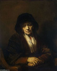Portrait of an Old Woman - Rembrandt van Rijn. Oil on canvas. 109 x 84 cm. The State Hermitage Museum, St. Rembrandt Portrait, Rembrandt Paintings, Portrait Paintings, Francisco Goya, Baroque Art, Hermitage Museum, European Paintings, Dutch Painters, Chiaroscuro