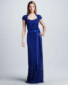 Tadashi Shoji  Belted Lace Cap-Sleeve Gown