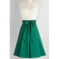 Vintage Round Neck Sleeveless Spliced Bowknot Embellished Women's Dress (WHITE AND GREEN,M) in Vintage Dresses | DressLily.com