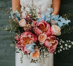 pretty wedding floral bouquet inspiration Getting married during the spring is very convenient if you want your decor filled with fresh and colorful flowers! It is also the most romantic season, where Floral Wedding, Fall Wedding, Dream Wedding, Spring Wedding Bouquets, Summer Wedding Flowers, Wedding Ideas, Cascading Bridal Bouquets, Wedding Ceremony, Peonies Wedding Bouquets