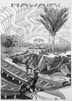 An imaginative reconstruction to illustrate a legend titled The coming of the Maori, showing the Maori legendary country of origin, Hawaiki, with r. Maori Patterns, Polynesian People, Maori Designs, Jr Art, Maori Art, Mythology, New Zealand, Wall Art, History