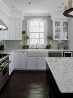 New Kitchen Backsplash With White Cabinets Granite Farmhouse Sinks Ideas Grey Kitchens, Modern Farmhouse Kitchens, Rustic Kitchen, New Kitchen, Home Kitchens, Kitchen Decor, Farmhouse Sinks, Kitchen Ideas, Design Kitchen