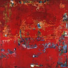 """Scrubble is a red 40x40"""" modern painting by Shawn McNulty. ©2012"""