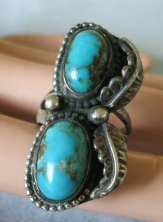 Vintage NATIVE-AMERICAN Sterling Silver & TURQUOISE RING size 7 FREE SHIPPING | eBay