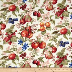 Avignon Fruit & Flowers Taupe from @fabricdotcom  Designed by Michele D'Amore Designs for Benartex, this cotton print fabric is perfect for quilting, apparel and home decor accents. Colors include cream and shades of red, pink, green, orange and blue.