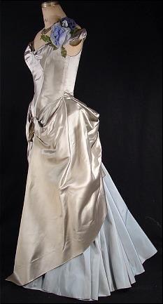 c. 1949  Attributed to CHARLES JAMES  Grey Satin / Light Blue Taffeta Ballgown