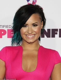 Vibrant: The 22-year-old former Disney star looked better than ever and showed off her teal tinted locks Wedge Hairstyles, Cute Hairstyles, Shaved Hairstyles, Hairstyle Ideas, Hair Ideas, Demi Lovato Hair Color, Shimmer Bronzer, Hair Affair, Blue Hair