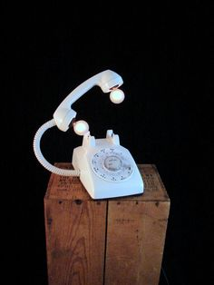 Table Lamp Upcycled Vintage white Rotary by BenclifDesigns on Etsy, $129.00