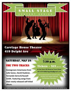 SATURDAY, MAY 28, 2016  A new recurring event at the Trail End State Historic Site: The Small Stage Concert Series at the Carriage House Theater! Intimate evenings of entertainment! Tickets ($15 plus tax) are ON SALE NOW for our inaugural concert: The Two Tracks (Julie Szewc, David Huebner, Fernando Serna and Russell Smith) on May 28! Reserve yours now at 307-674-4589 or stop by the museum any afternoon from 1-4pm. Carriage House, 419 Delphi Avenue.