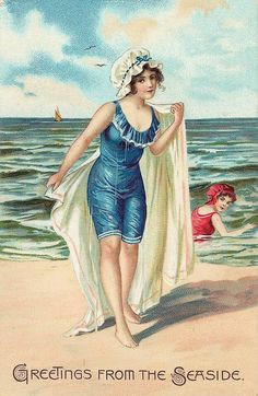 Greetings from the seaside - vintage postcard of woman at the beach