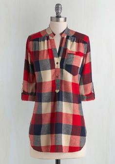 Bonfire Stories Tunic in Red Plaid - Blue, Tan / Cream, Plaid, Buttons, Pockets, Casual, Cotton, Woven, Red, Rustic, 3/4 Sleeve, Long, Red, Tab Sleeve, Fall