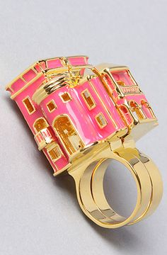 @savanna Hagan neeeeds this!!!!.... its a barbie dream house ring! & has a chandelier inside!
