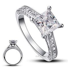 1.5Ct Ring Princess Cut Engagement Solitaire Cz Solid 925 Sterling Silver