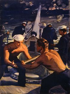 "This WWII-era poster titled ""A Message From America"" shows sailors loading ammunition into a cannon. Illustrated by Hayden Hayden and printed by the Kemper-Thomas Company of Cincinnati, c. 1943."