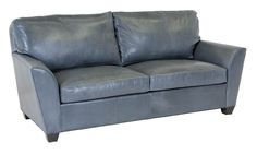This blue leather loveseat is made from top quality distressed aniline dyed leather.