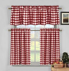 Red and White Gingham Kitchen Curtains. I still love gingham...even if it has gone out of style. So pretty!