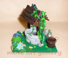 Wishing Well – handmade polymer clay decor / resin Mini Art Gallery by ArtSista Fotini
