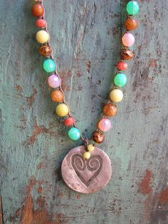 Colorful crocheted necklace - Big Love - Heart pendant, boho hippie, fall winter bohemian jewelry casual, semiprecious stones czech glass