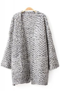 Two-Pocket Long Sleeve Loose Carigan Sweater