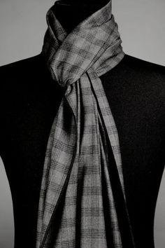 Long Scarf Charcoal Gray Black Handmade Wool Plaid Men's by VJRSCARVES