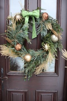 DIY Christmas wreath with bow made from old silk tie.