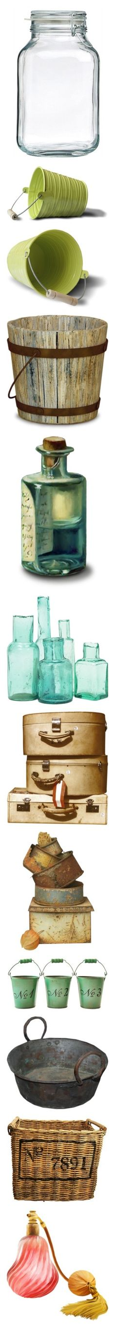 """""""Containers, Bottles, Jars"""" by nerd-muffin ❤ liked on Polyvore featuring home, kitchen & dining, food storage containers, bormioli rocco, bormioli rocco jars, storage jars, easter, fillers, buckets and garden"""