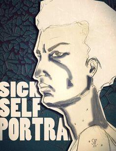 Sick self portrait l june 2014 by Slf Illustration Chronic Illness, Chronic Pain, Fibromyalgia, Sick, Portrait, Drawings, June, Behance, Illustrations