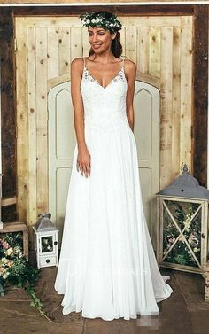 Summer Bohemian Beach A Line Spaghetti Straps Lace Wedding Dress - Junebridals