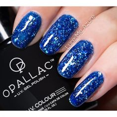A luring deep azure blue glitter gel. Can be used alone or layered over any Opallac gel colour. Glitter Gel Polish, Nail Polish Colors, 5 Ml, Gel Color, Blue Glitter, Uv Gel, Diy Design, Ecommerce, Nail Art