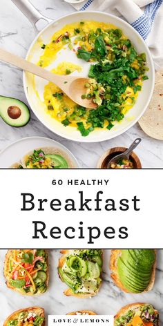 Find over 60 healthy breakfast ideas for busy mornings! With sweet, savory, easy & make-ahead options, we have breakfast recipes for everyone. Breakfast Bread Recipes, Breakfast Tacos, Breakfast Bowls, Healthy Breakfast Recipes, Brunch Recipes, Breakfast Ideas, Vegetarian Recipes, Healthy Recipes, Blueberry Breakfast