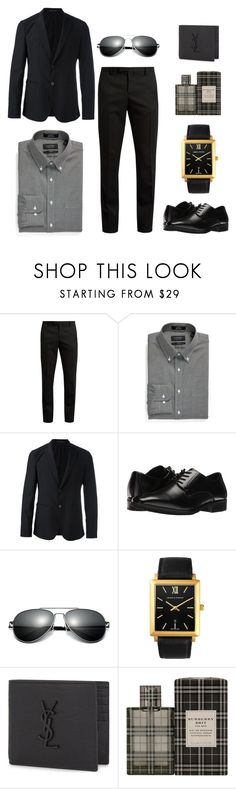 """Fashion Men's Set"" by jacky191818-1 on Polyvore featuring Yves Saint Laurent, Nordstrom, Emporio Armani, Stacy Adams, Larsson & Jennings, Burberry, men's fashion and menswear"