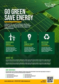 Non Renewable Energy, Solar Energy, Business Flyer Templates, Business Flyers, Energy Conservation Poster, One Pager Design, Environmental Posters, Corporate Flyer, Corporate Design