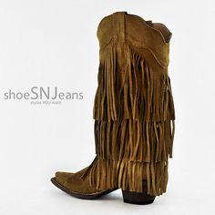 Tanner Mark Gamusa Barbas Tan Buttercup Suede Fringe Pointed Toe Western Boots | eBay