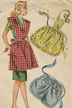 1940s Simplicity 1163 Vintage Sewing Pattern Misses' Aprons Size Small