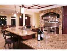 Gourmet Kitchen with Multi-Level Bar tops Bar Tops, Kitchens, House Ideas, Furniture, Home Decor, Gourmet, Decoration Home, Room Decor, Kitchen
