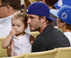 David Beckham enjoys his retirement by taking Harper to a baseball game in LA