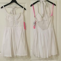 NWT Betsey Johnson white halter dress sz 10  NWT Betsey Johnson white halter dress sz 10  new with tags, halter top, white romantic design dress with cream lace detail, breast shape wear in chest area, such a pretty and romantic dress Betsey Johnson Dresses