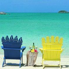 Paradise Beach Summer Pink Scenes Adirondack Chairs