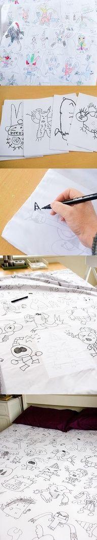 Pegue um lençol branco e transfira desenhos com caneta para tecido.