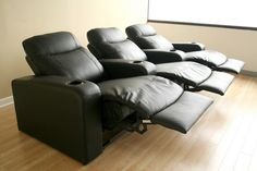 Baxton Studio Cannes 3-Piece Home Theater Seating traditional-theater-seating