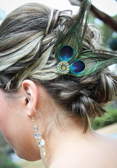 Peacock Wedding Bridesmaid Hair Fascinator by OhSoSassyBoutique, $15.00