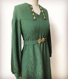 Rare Vintage 30s Green Crepe Art Deco Dress
