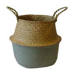 Panière thaïlandaise à 2 anses en fibre végétale Ø35xH35cm - Gris - Achat / Vente casier pour meuble - Cdiscount