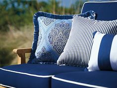 Orleans Outdoor Loveseat Cushions - Cabana Stripe Blue, Special Order - Frontgate, Patio Furniture patio furniture