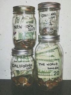 I'm saving up this way! Currently have 3 Mason jars in my room. 1.Melbourne  2.Europe  3.My Car