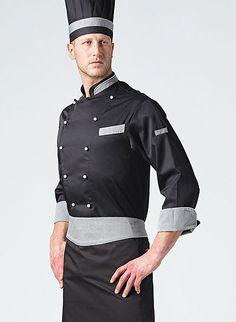 Giacca Nera. Tessuto 100% cotone. Hotel Uniform, Restaurant Uniforms, Leather Apron, Uniform Shirts, Uniform Design, Barista, Chef Jackets, How To Wear, Fashion Design